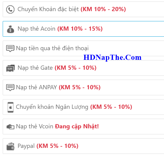 nap the chua nhan mobile