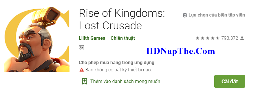 nạp thẻ rise of kingdoms