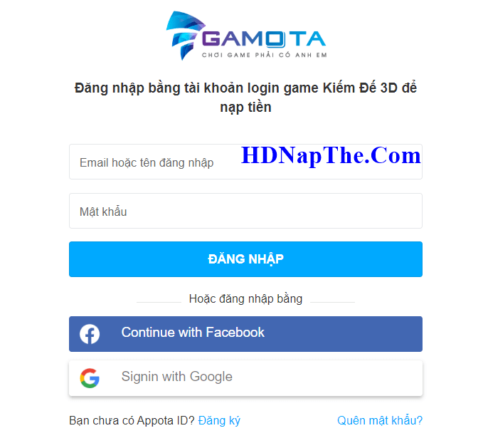 Nạp thẻ tiên vực mobile gamota