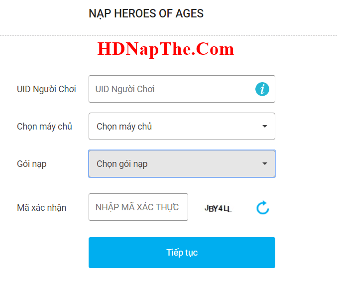 Nạp thẻ Heroes of Ages