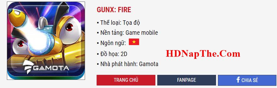 nạp thẻ GunX: Fire