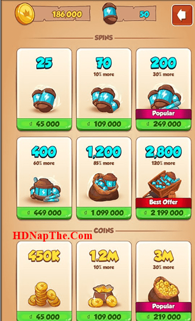 nạp game coin master sms
