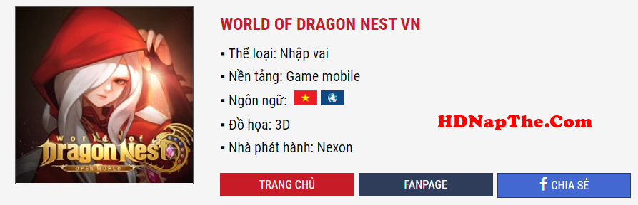 nạp thẻ World of Dragon Nest