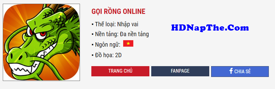 nạp thẻ Gọi Rồng Online